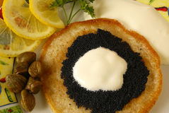 Blintz with caviar Royalty Free Stock Image