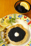 Blintz with caviar Royalty Free Stock Photography