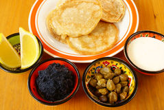 Blintzes with caviar Royalty Free Stock Images