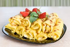 Blintzes (cheese pancakes) Stock Photo