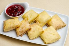 Blintzes. (cheese pancakes)traditional, judaism, color, cuisine, raisin Stock Images