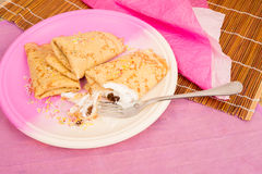 Blintzes crepe. Serving of traditional blintzes, a sweet snack Royalty Free Stock Photography