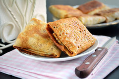Blintzes. Freshly fried blintzes with chopped beef and sweet corn on a plate Stock Images