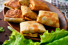 Fried blintzes (russian crepes), close up Stock Images