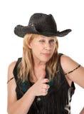 Blinzeln der westlichen Frau Lizenzfreies Stockfoto