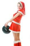 Blinzeln des Mädchens in der Weihnachtsmann-Kleidung Stockfotos