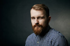Blinzeln des roten bärtigen Mannstudioporträts auf dunklem Hintergrund Stockbilder
