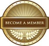 Blir ett guld- etikettemblem för medlem Royaltyfri Illustrationer
