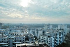 Bliska Wola 现代住宅区在华沙Wola有名望的区  免版税库存照片
