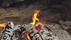 Bliski widok na świecący węgiel drzewny i płomień w grillu grillowym zbiory