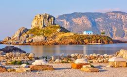 Blisko Kos mała wyspa Kastri, Grecja Zdjęcia Royalty Free