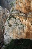 Blisko Malage w Hiszpania El Caminito Del Rey The królewiątka ` s Mała droga przemian obrazy stock