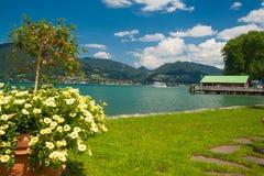 Blisko miasta Bad jeziorny Tegernsee Wiessee Fotografia Royalty Free