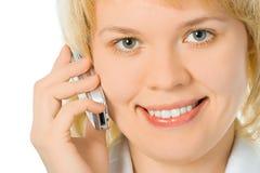 blisko powierzchni komórek interesów telefonu w pół do kobiet Fotografia Royalty Free