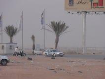 Bliskowschodni samochody w pustyni fotografia royalty free