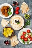 Bliskowschodni tradycyjny gość restauracji Autentyczna arabska kuchnia Meze przyjęcia jedzenie Odgórny widok, mieszkanie nieatuto Zdjęcia Stock