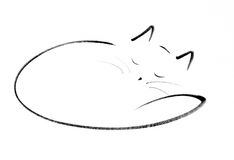 Bliss. A simple line drawing of a sleeping cat Royalty Free Stock Photos
