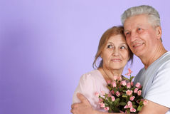 Bliss Caucasian elderly people together Stock Images