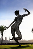 Bliss Dance. SAN FRANCISCO-OCT 24: 40-foot mesh sculpture of a woman called Bliss Dance by artist Marco Cochrane on Treasure Island in San Francisco on Oct. 24 Royalty Free Stock Photo