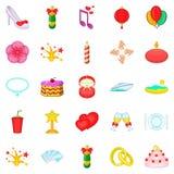 Bliss icons set, cartoon style Royalty Free Stock Image