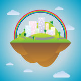 Blissful City. Vector illustration of a city hovering in the heaven Royalty Free Stock Photos