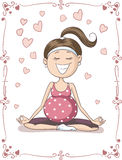 Blissful Pregnant  Woman Doing Yoga Vector Cartoon Royalty Free Stock Images