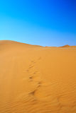Blissful view of sand dunes. And cloudless sky, Erg Chebbi, Morocco Stock Photos