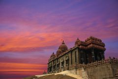 Blissful view of Vivekananda Rock Memorial, Kanyakumari. Blissful view of Vivekananda Rock Memorial in Kanyakumari with colorful sky in the background. Tamil Royalty Free Stock Photo