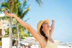 Blissful woman enjoying caribbean summer vacation Royalty Free Stock Photography