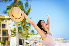 Blissful woman enjoying caribbean summer vacation Stock Image