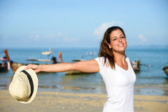 Blissful woman enjoying Thailand travel at beach Royalty Free Stock Photography