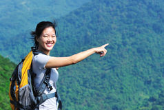 Blissful woman hiker Royalty Free Stock Image