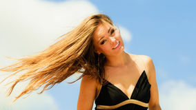 Blissful woman vacation day. Happy smiling crazy tourist on beach outdoor Stock Photo