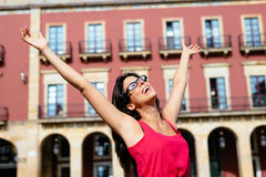 Blissful woman on vacation in spain Stock Photography