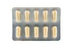 Blister della medicina della capsula gialla Immagini Stock
