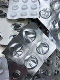 Blister di alluminio e di plastica vuoti delle pillole Fotografia Stock Libera da Diritti
