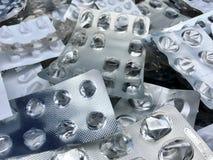 Blister di alluminio e di plastica vuoti delle pillole Fotografie Stock Libere da Diritti