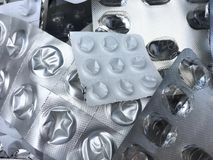 Blister di alluminio e di plastica vuoti delle pillole Immagine Stock