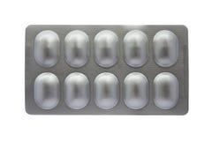 Blister di alluminio isolato su fondo bianco Immagine Stock
