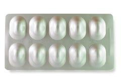 Blister di alluminio su bianco Immagini Stock Libere da Diritti