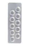 Blister di alluminio su fondo bianco Immagini Stock Libere da Diritti