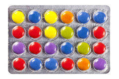 Blister with multi colored pills Stock Photography