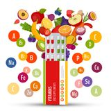 Blister pack of pills with fruit. Vitamins and supplements. Flat royalty free illustration