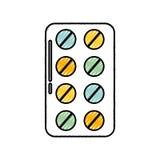 Blister pack pills. Scribble blue blister pack pills vector graphic design Stock Photo