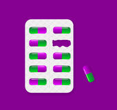 Blister pack of tablets lack of pill package.Tablet pills medica Royalty Free Stock Photography