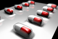 Blister of pills. 3d render of a blister of pills Royalty Free Stock Photos