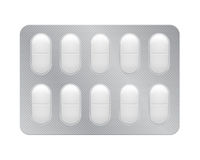 Blister with pills, tablets. 3d blister with pills for illness and pain treatment. Medical drug package for tablet: vitamin, antibiotic, aspirin. Realistic mock Royalty Free Stock Image
