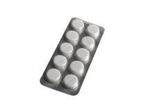 Blisterpackung Pillen auf weißem Hintergrund Stockfoto