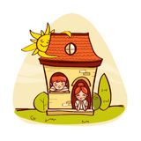 BLittle house with kids Stock Photo