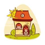 BLittle hus med ungar Arkivfoto